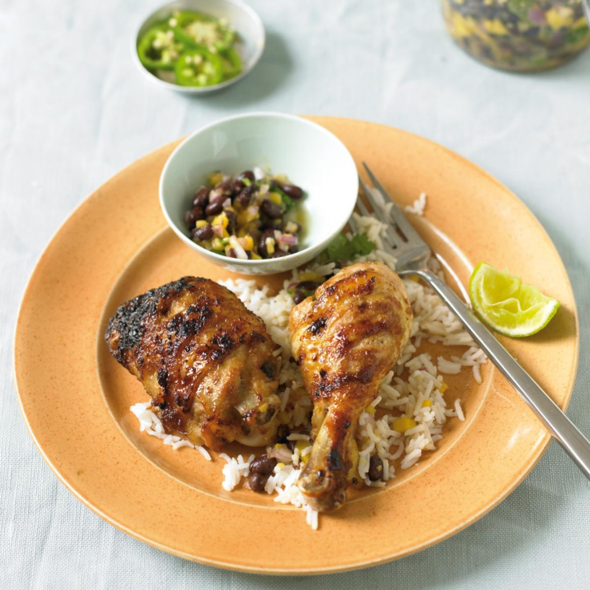 Cheat caribbean chicken with salsa