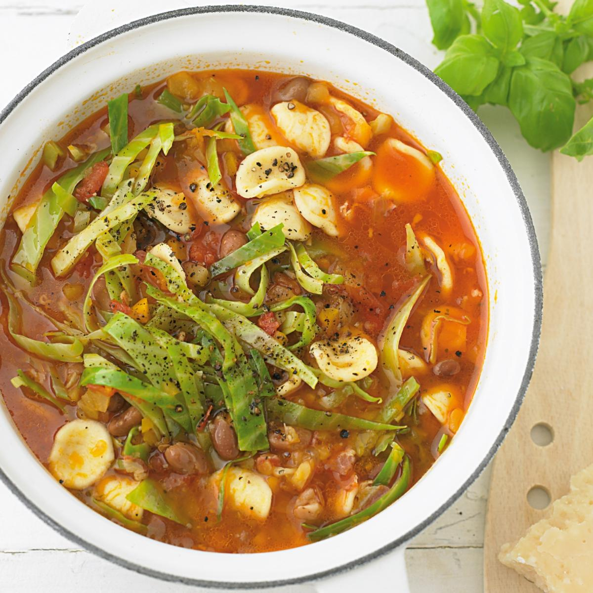Cheat minestrone with orecchiette and borlotti beans