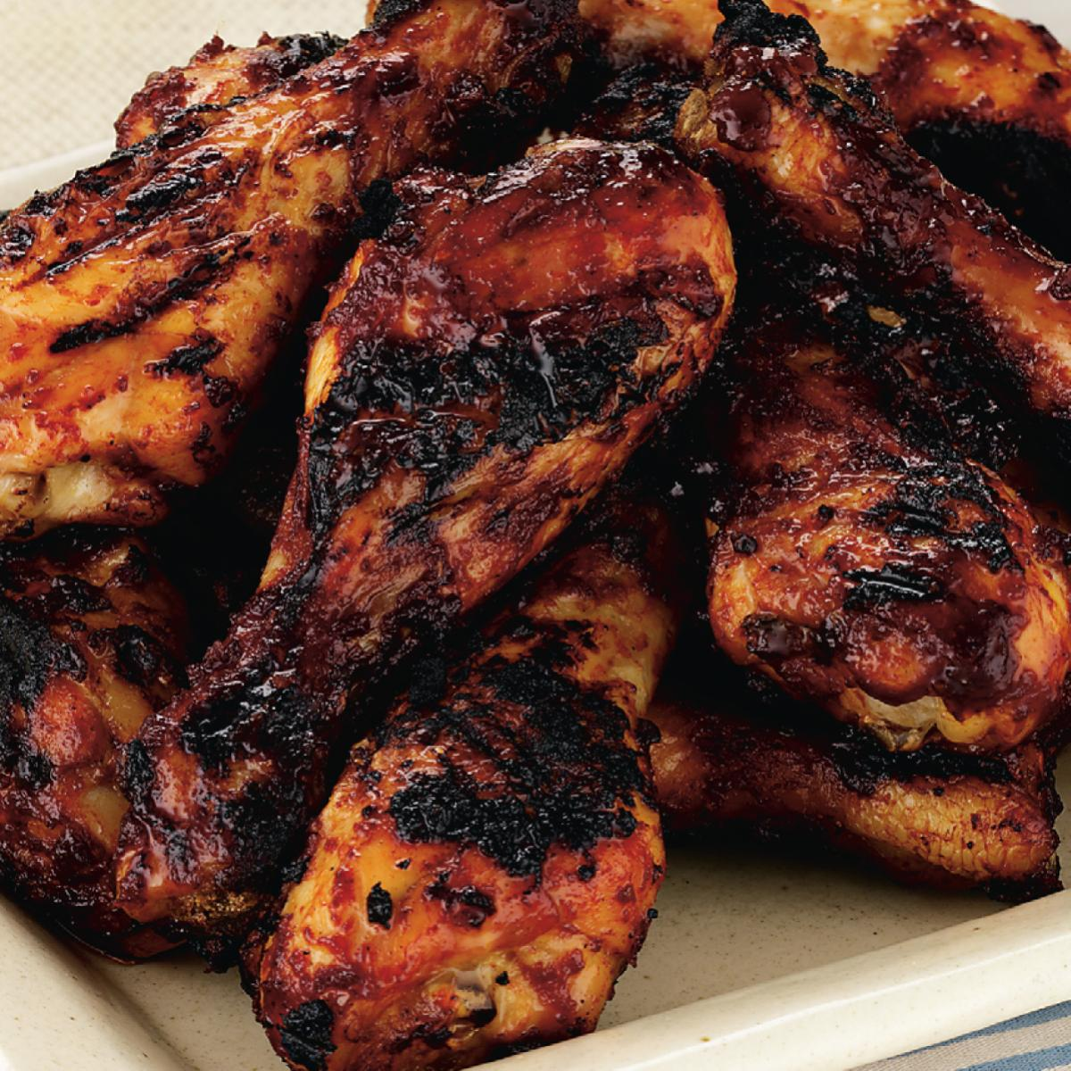 a picture of delias barbecued chicken with an apricot glaze recipe