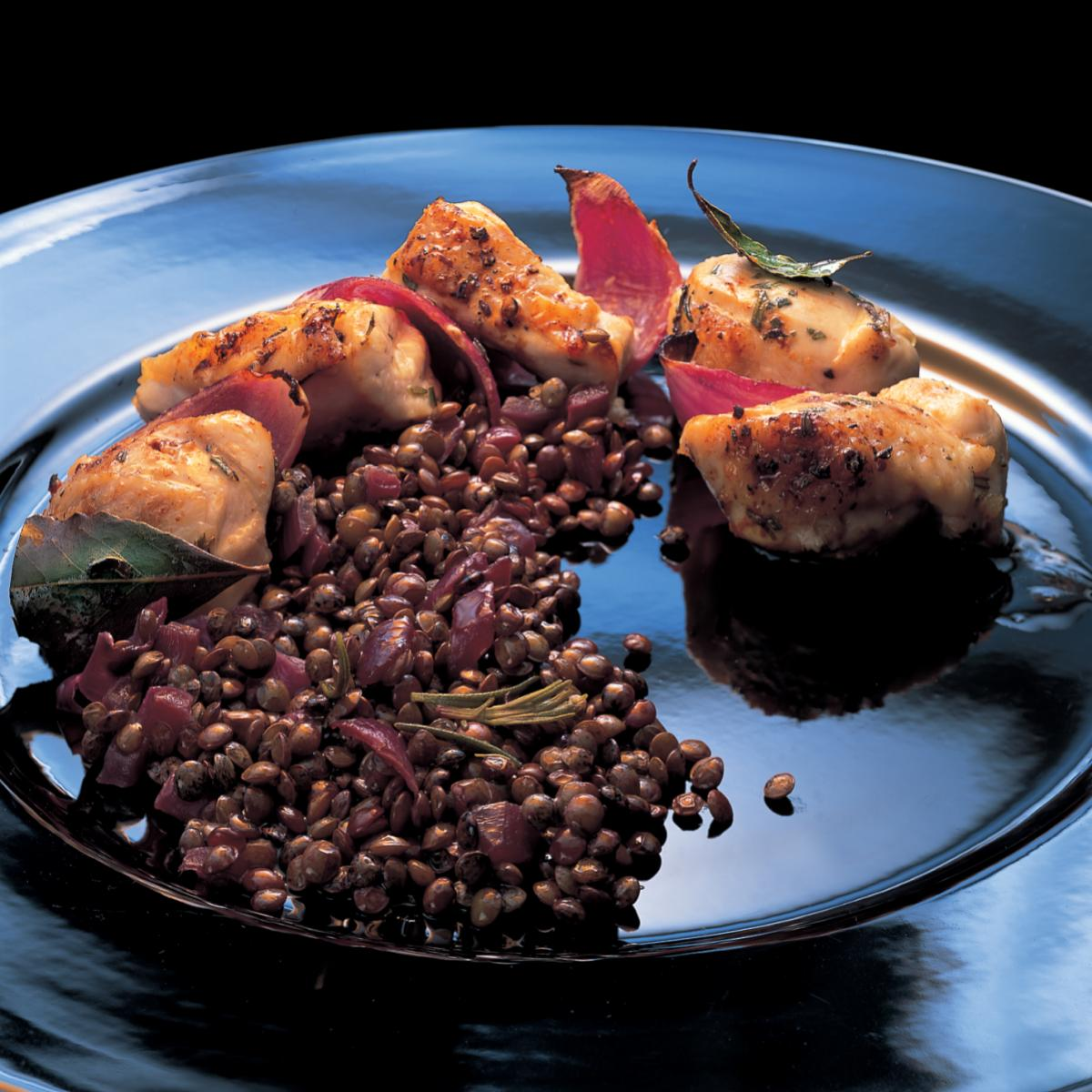 A picture of Delia's Grilled Chicken with Lemon, Garlic and Rosemary, served with Puy Lentils recipe