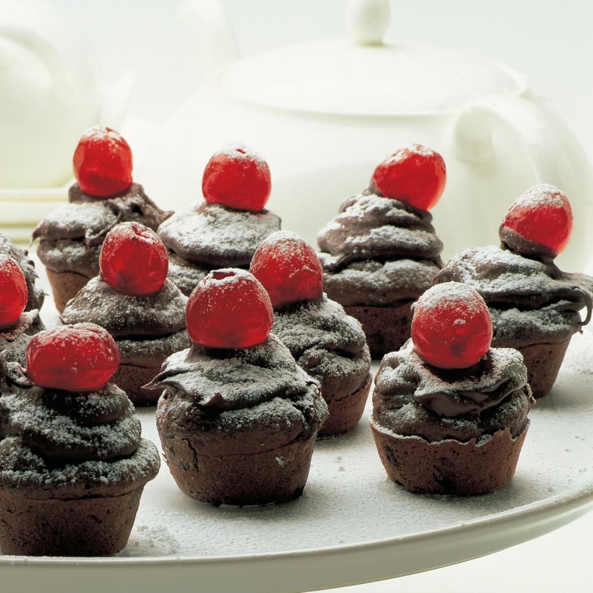 Chocolate chocolate drop mini muffins with red noses