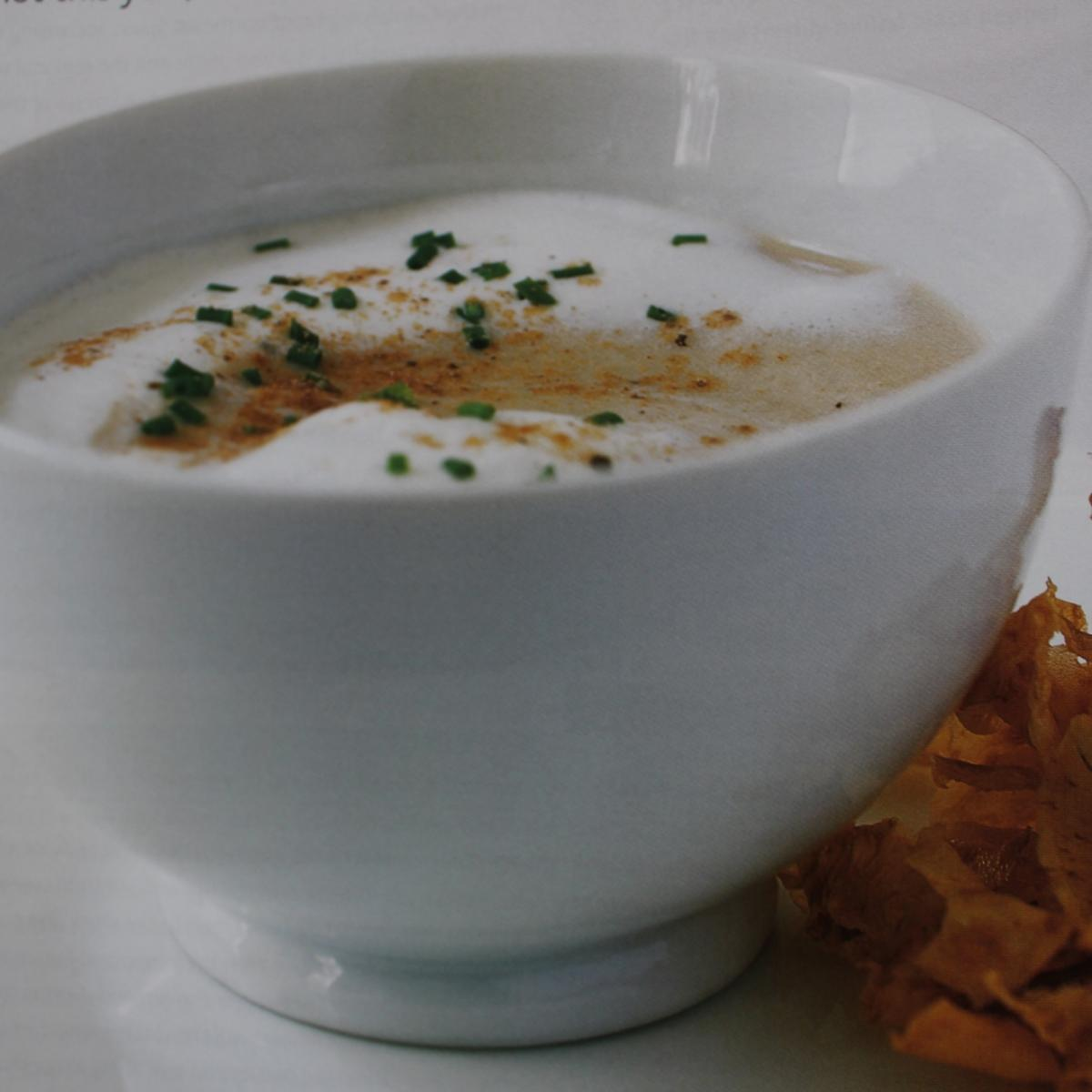 Christmas easy celeriac and chestnut soup with celeriac crisps staff pic
