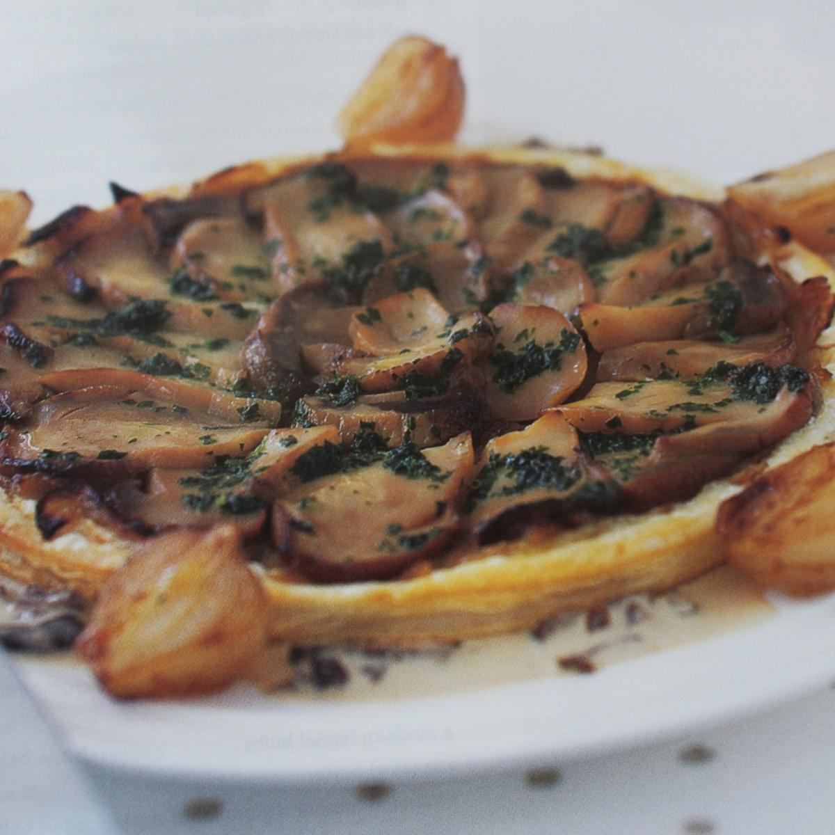 Christmas easy cep and onion tarts with cep cream and parsley butter shallots staff pic