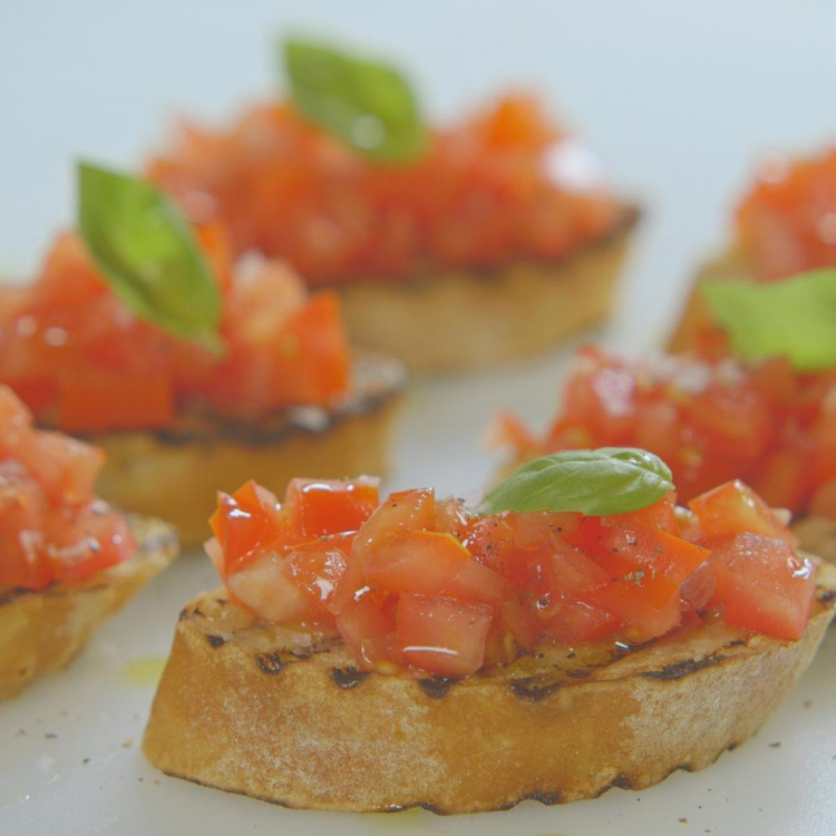 Cs bruschetta with tomato and basil