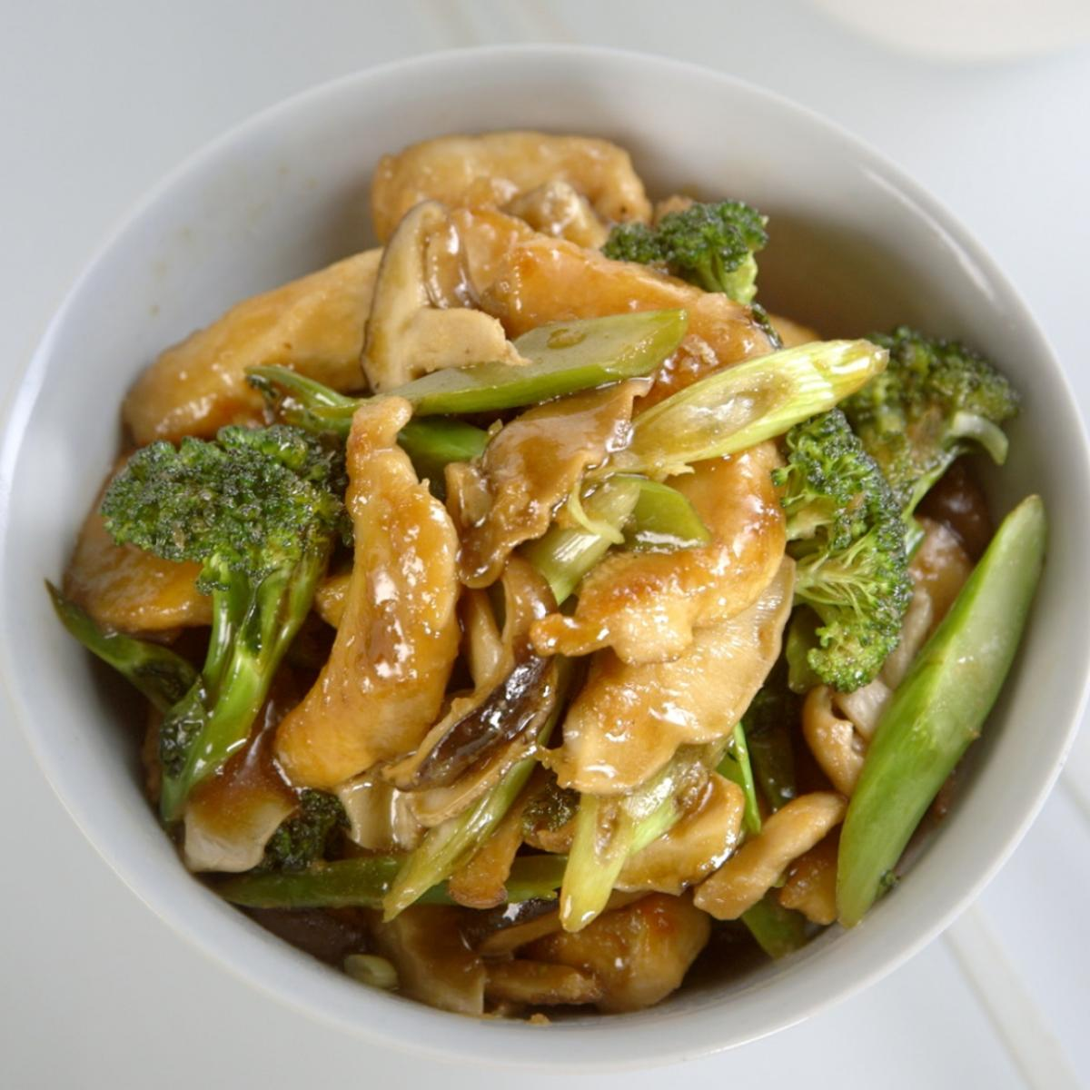 A picture of Delia's Chinese Stir-fried Chicken with Shiitake Mushrooms and Purple Sprouting Broccoli recipe