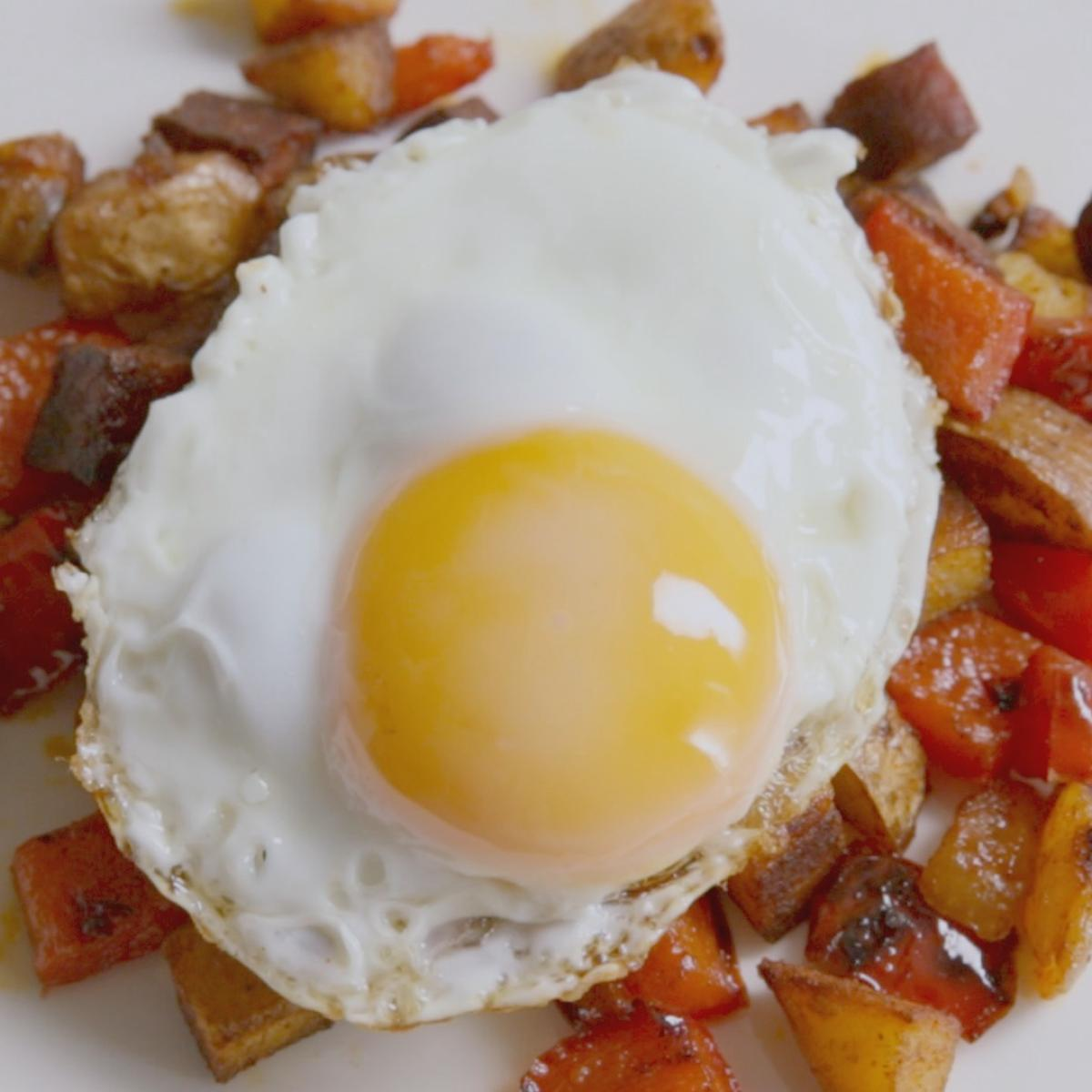 A picture of Delia's Fried Eggs on Chorizo Hash recipe