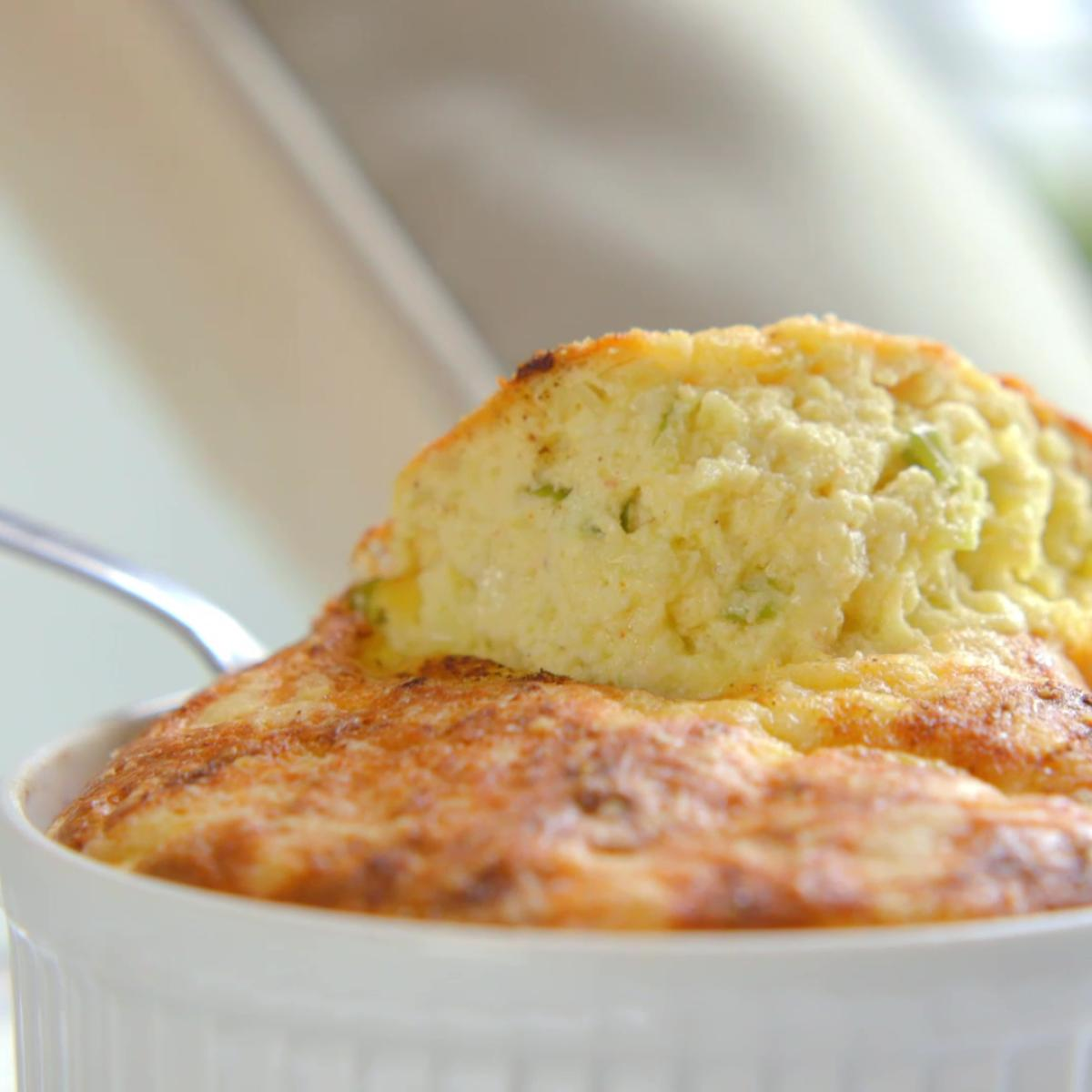 Cs potato cheese and spring onion souffle