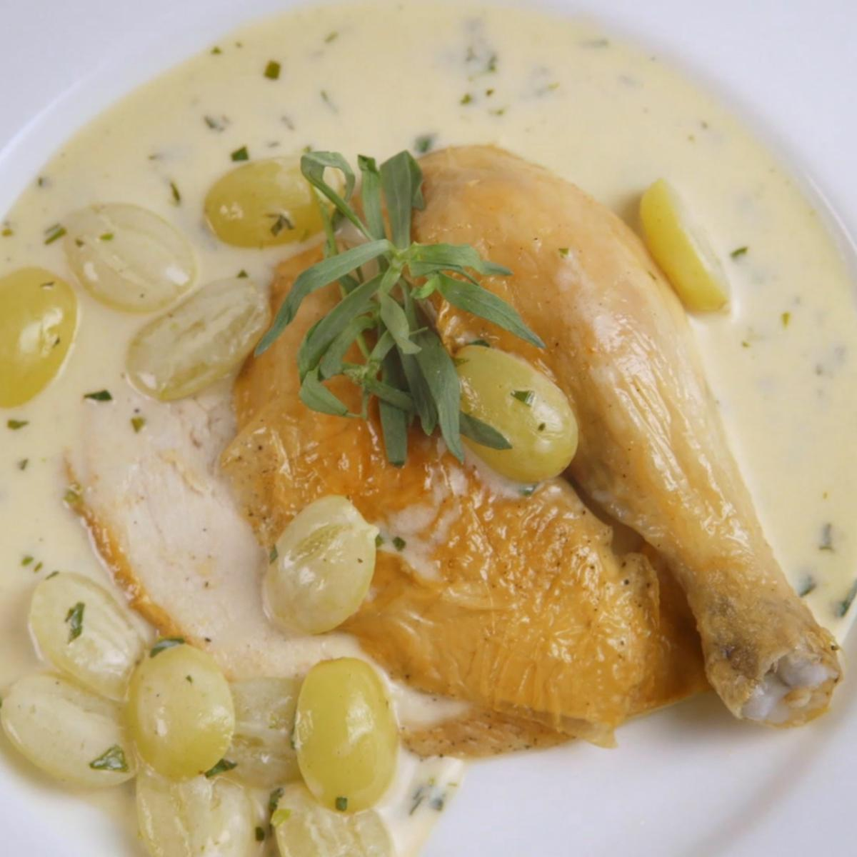 A picture of Delia's Roast Chicken with Riesling, Grapes and Tarragon recipe