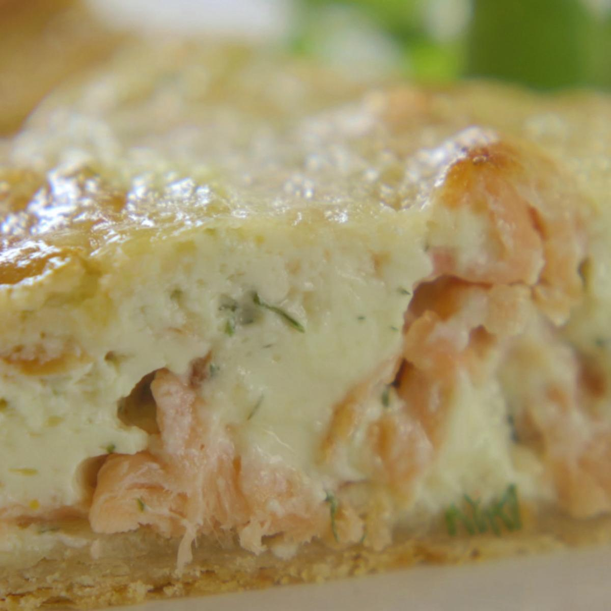 Cs smoked salmon and dill tart