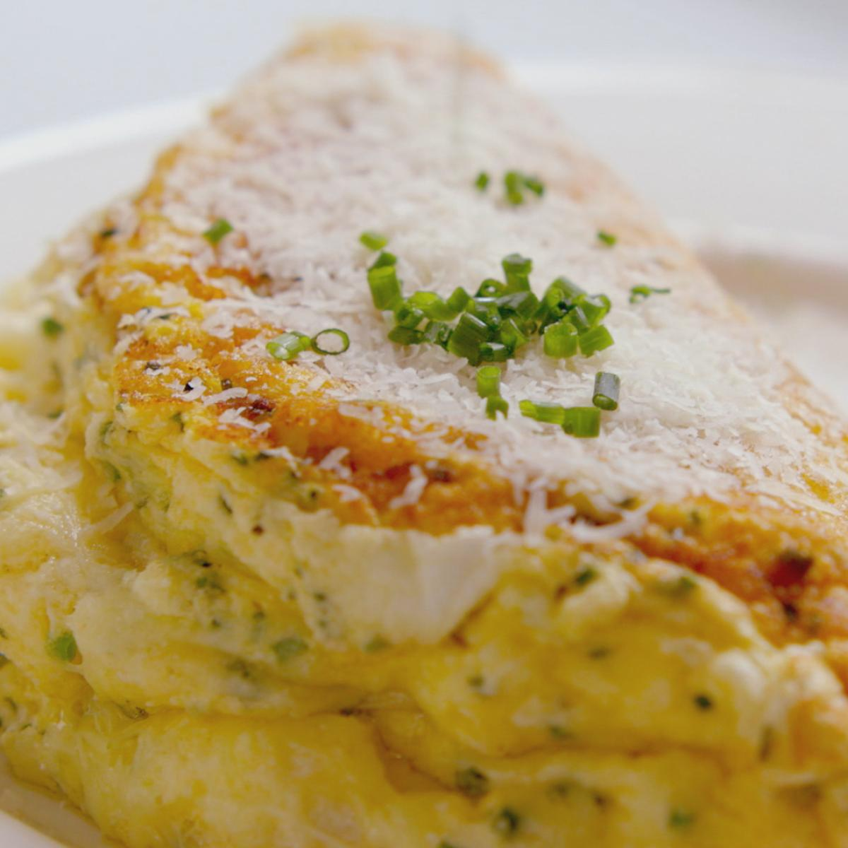 Cs souffle omelette with swiss gruyere cheese