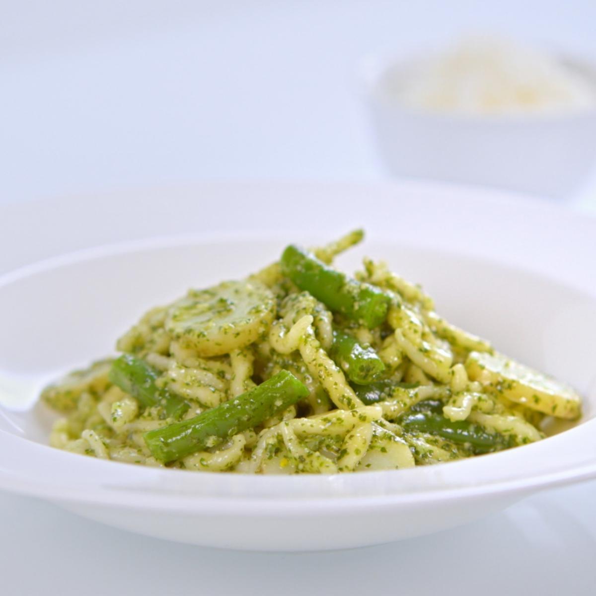 A picture of Delia's Trofie Pasta Liguria (Pasta with Pesto, Potatoes and Green Beans) recipe