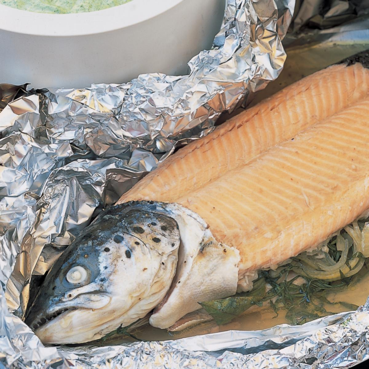 A picture of Delia's Foil-baked Whole Fresh Salmon with Green Herb Mayonnaise recipe