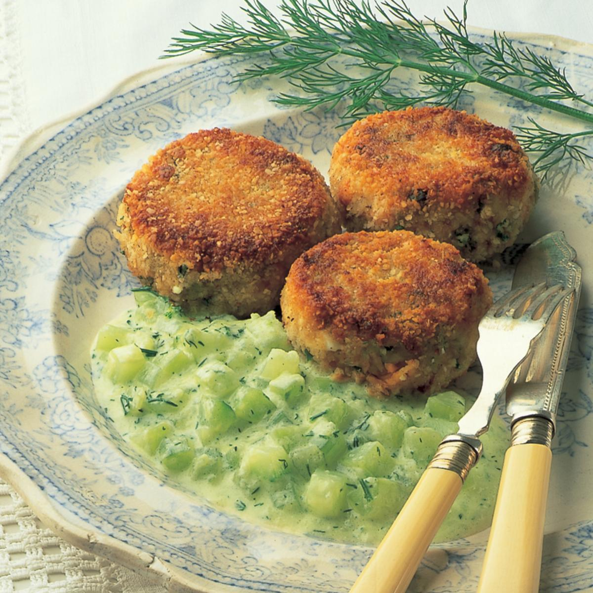 A picture of Delia's Salmon Fishcakes with Cucumber and Dill Sauce recipe