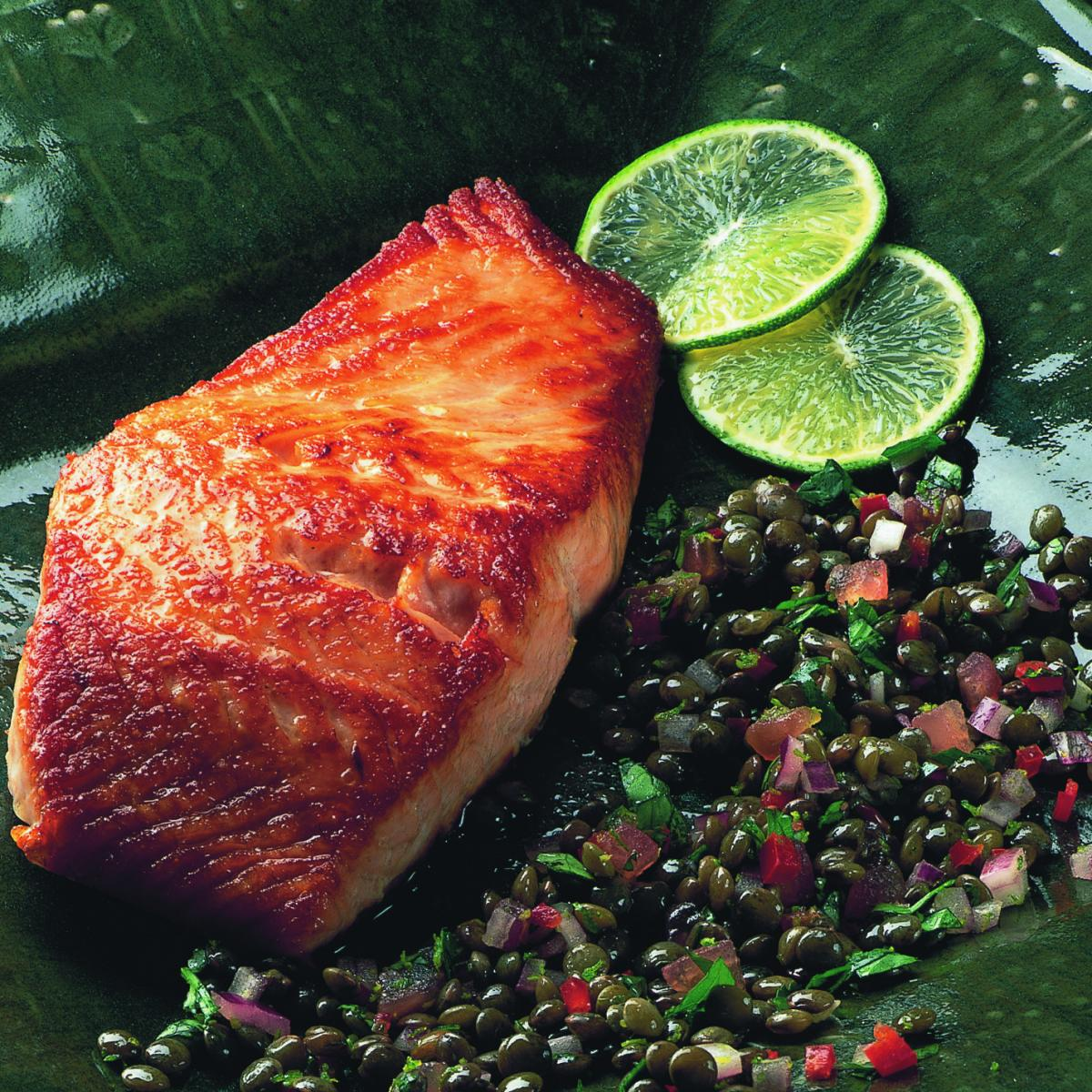 A picture of Delia's Seared Salmon Fillets with Puy Lentil Salsa recipe