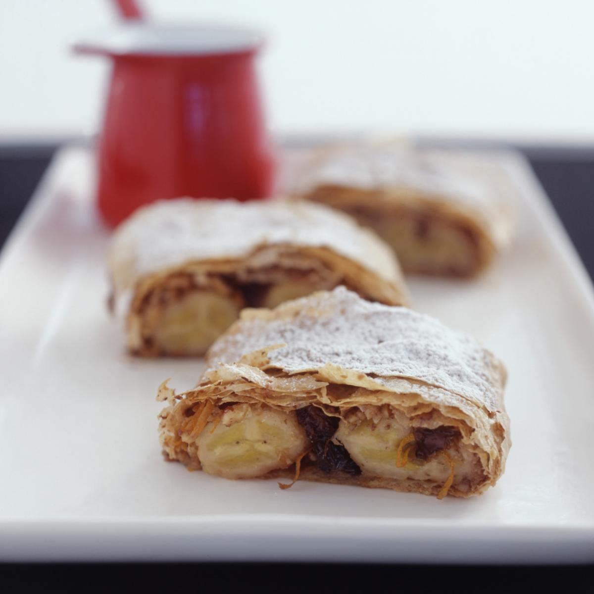 A picture of Delia's Caribbean Banana and Raisin Strudel recipe