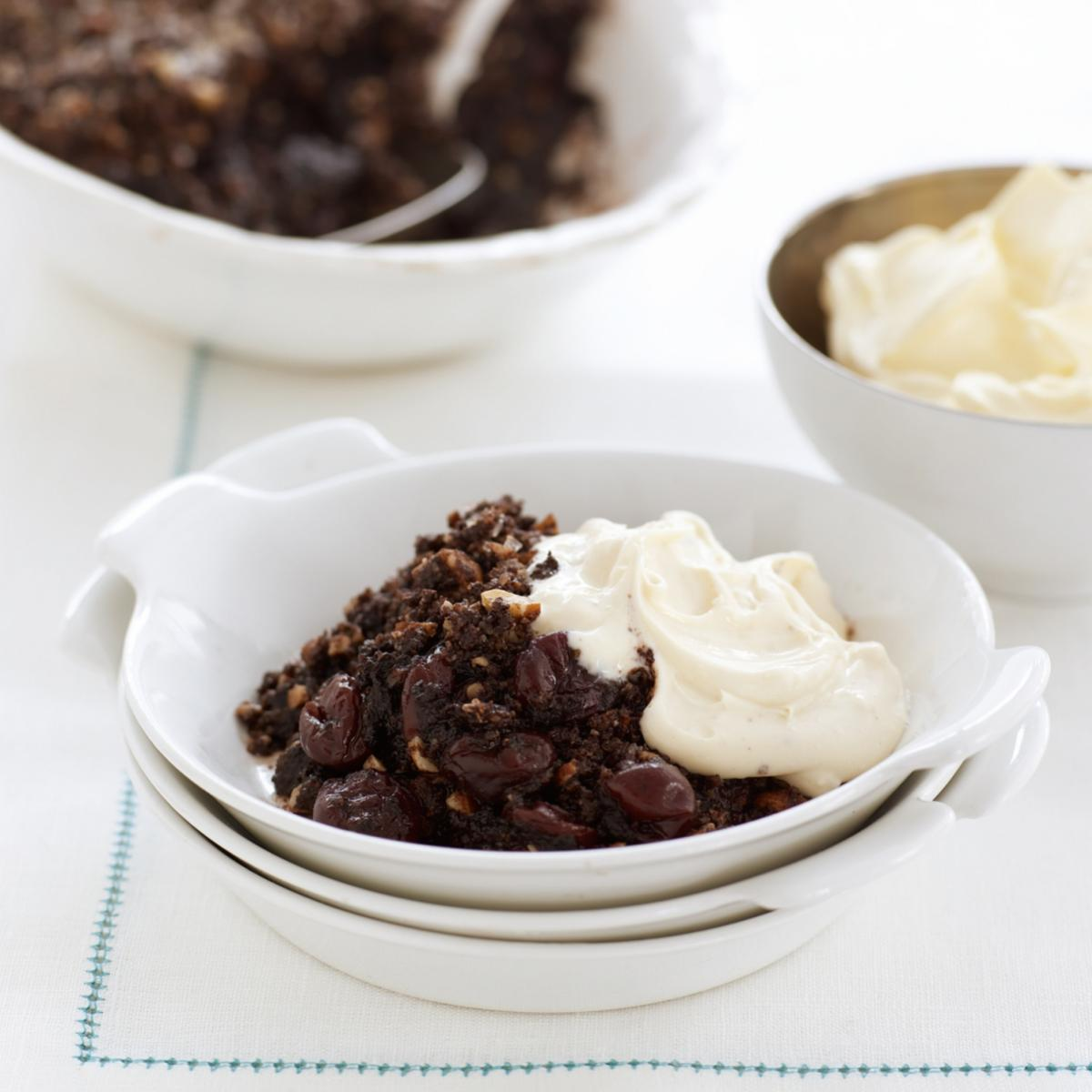 A picture of Delia's Chocolate and Sour Cherry Crumble recipe