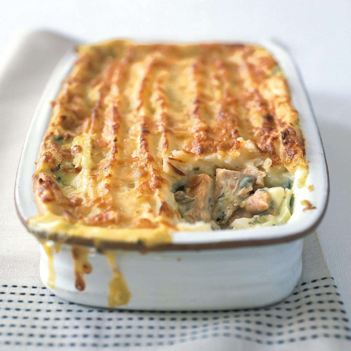 A picture of Delia's Christmas Eve Hot Smoked Salmon Pie recipe