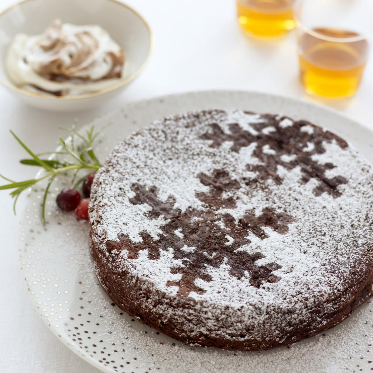 Happy fallen chocolate souffle with armagnac prunes