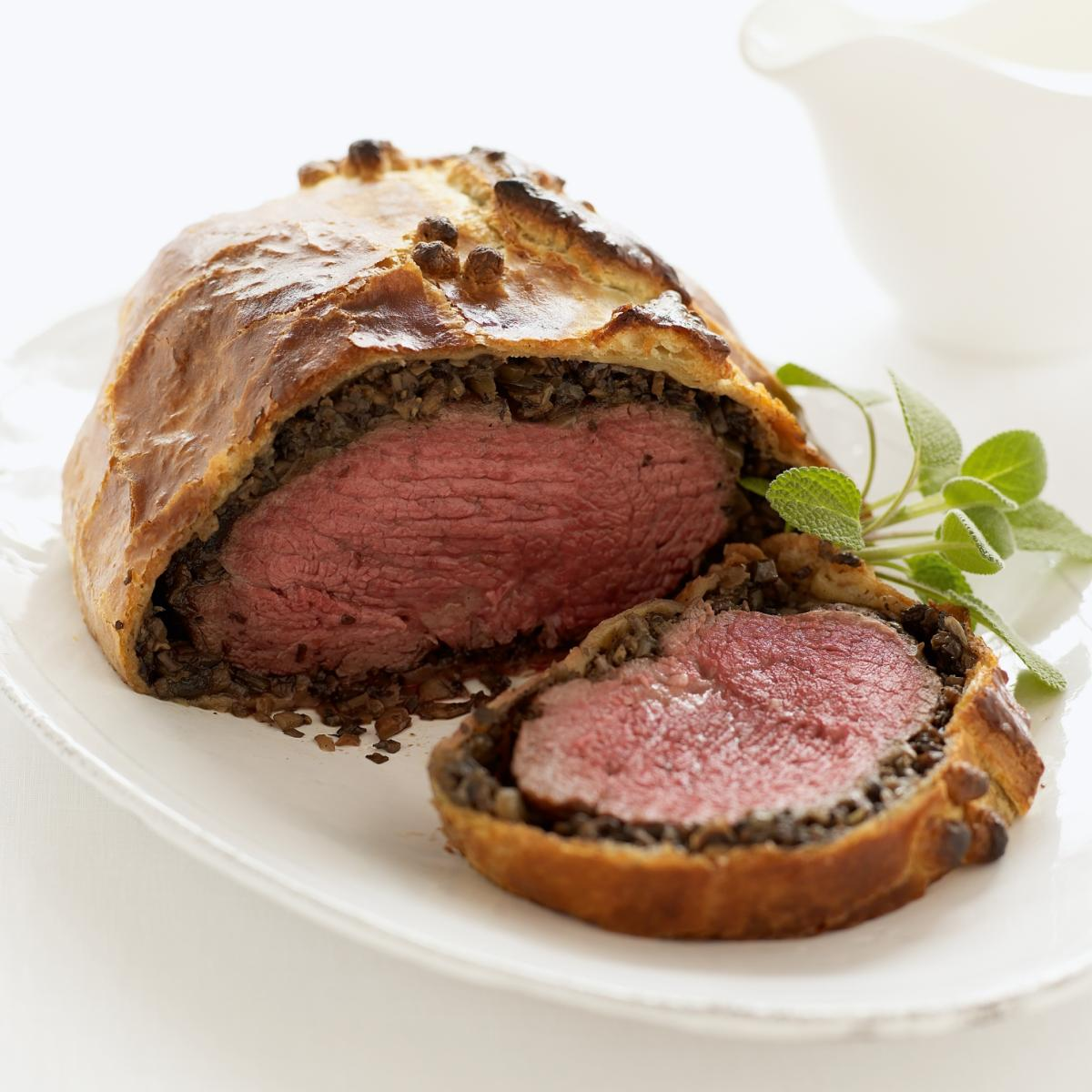 fillet of beef in pastry with wild mushrooms and red wine sauce