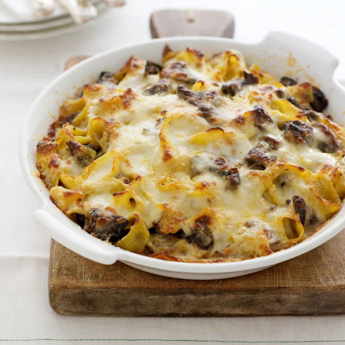 A picture of Delia's Pappardelle Pie with Wild Mushrooms and Taleggio recipe