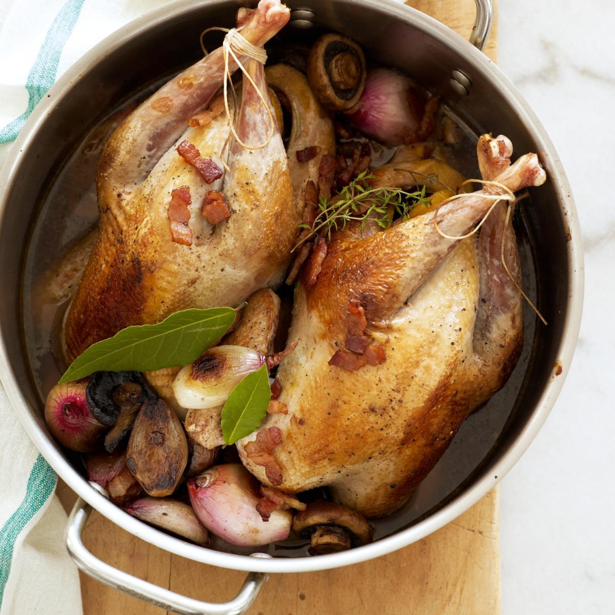 A picture of Delia's Pot-roasted Pheasants in Madeira recipe