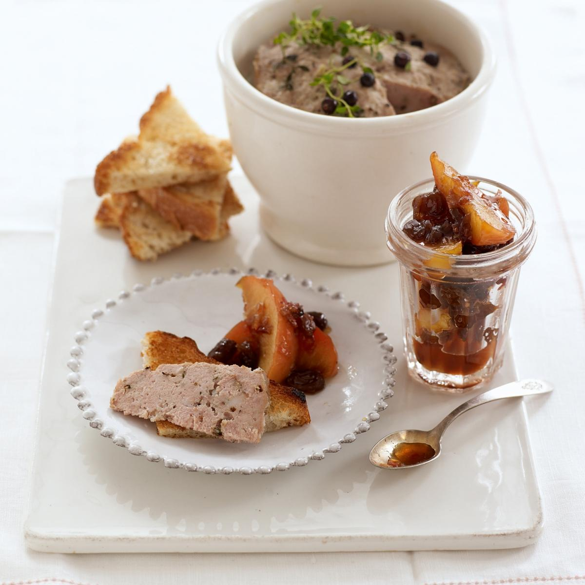 A picture of Delia's Potted Pork with Juniper and Thyme, with a Marmalade of Apples, Raisins and Shallots recipe