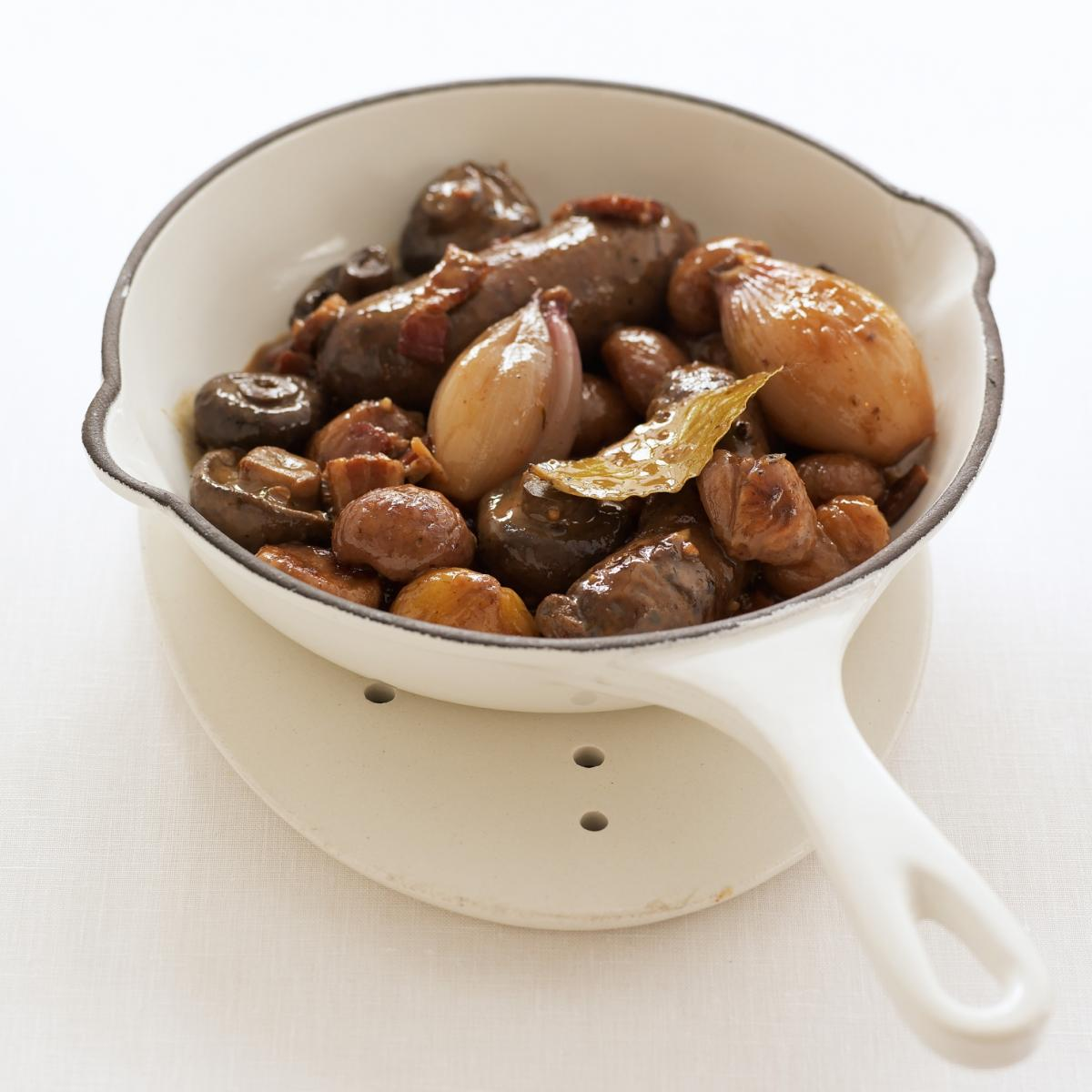A picture of Delia's Venison Sausages Braised in White Wine with Caramelised Chestnuts recipe