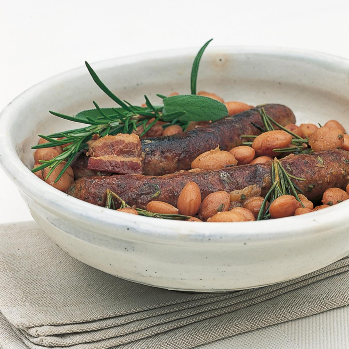 Htc braised sausages with borlotti beans rosemary and sage