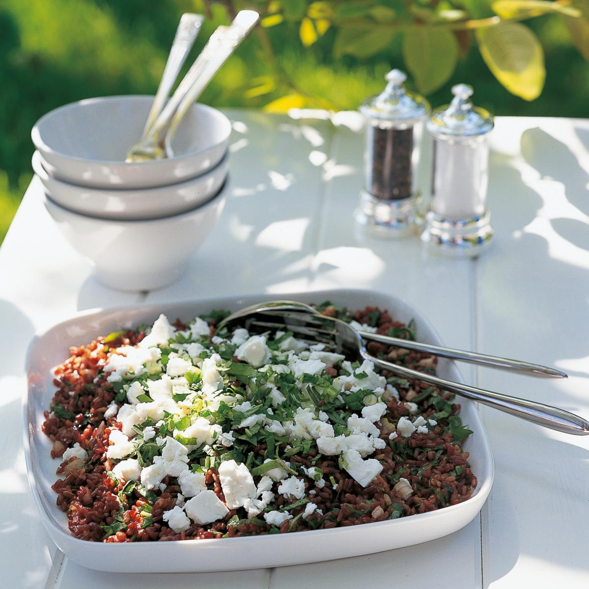 Htc camargue red rice salad with feta cheese
