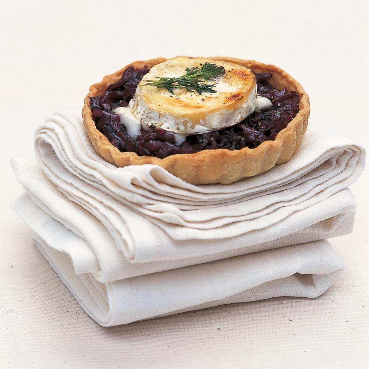 ... onion tarts with goats cheese the long slow cooking of red onions and