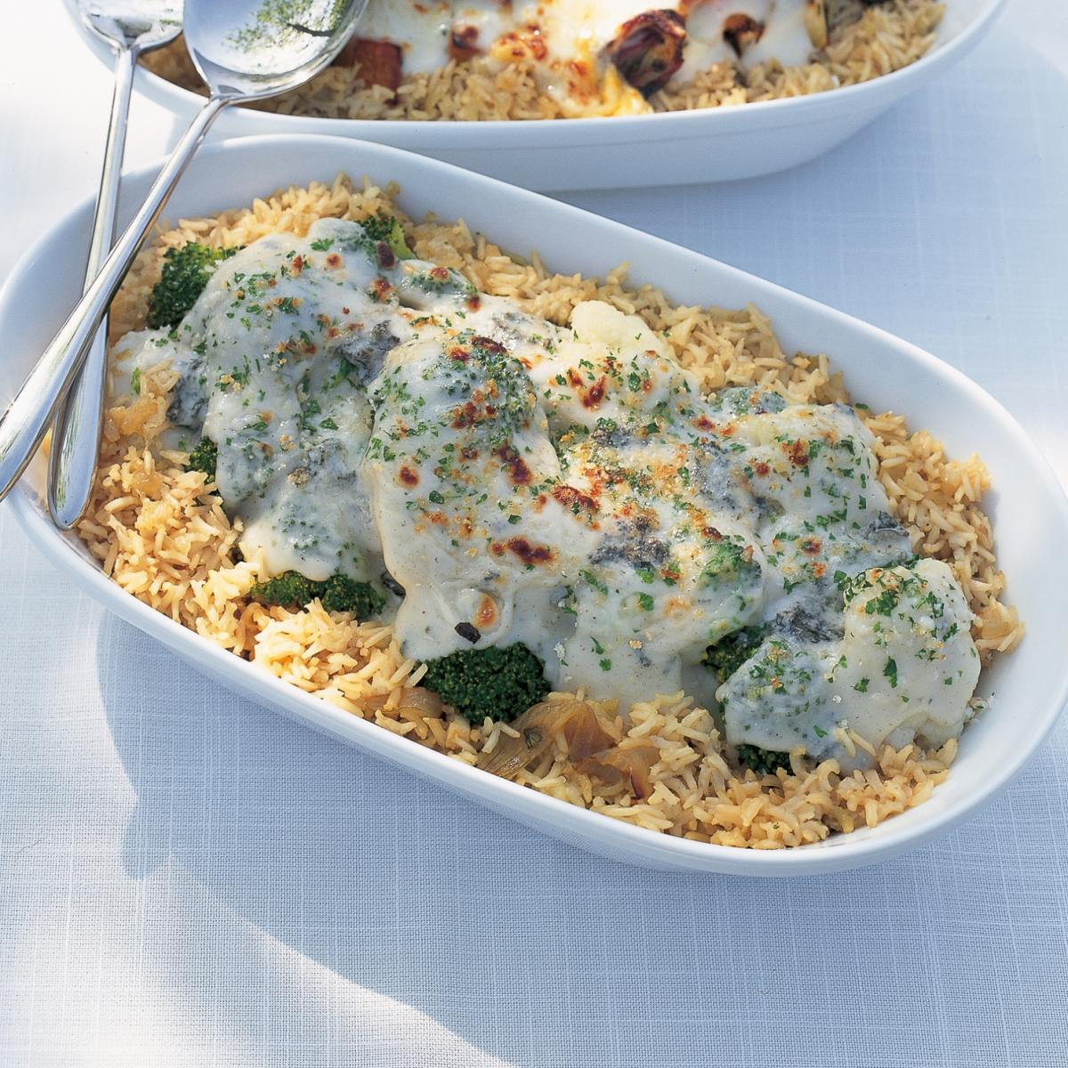 A picture of Delia's Cauliflower and Broccoli Gratin with Blue Cheese recipe