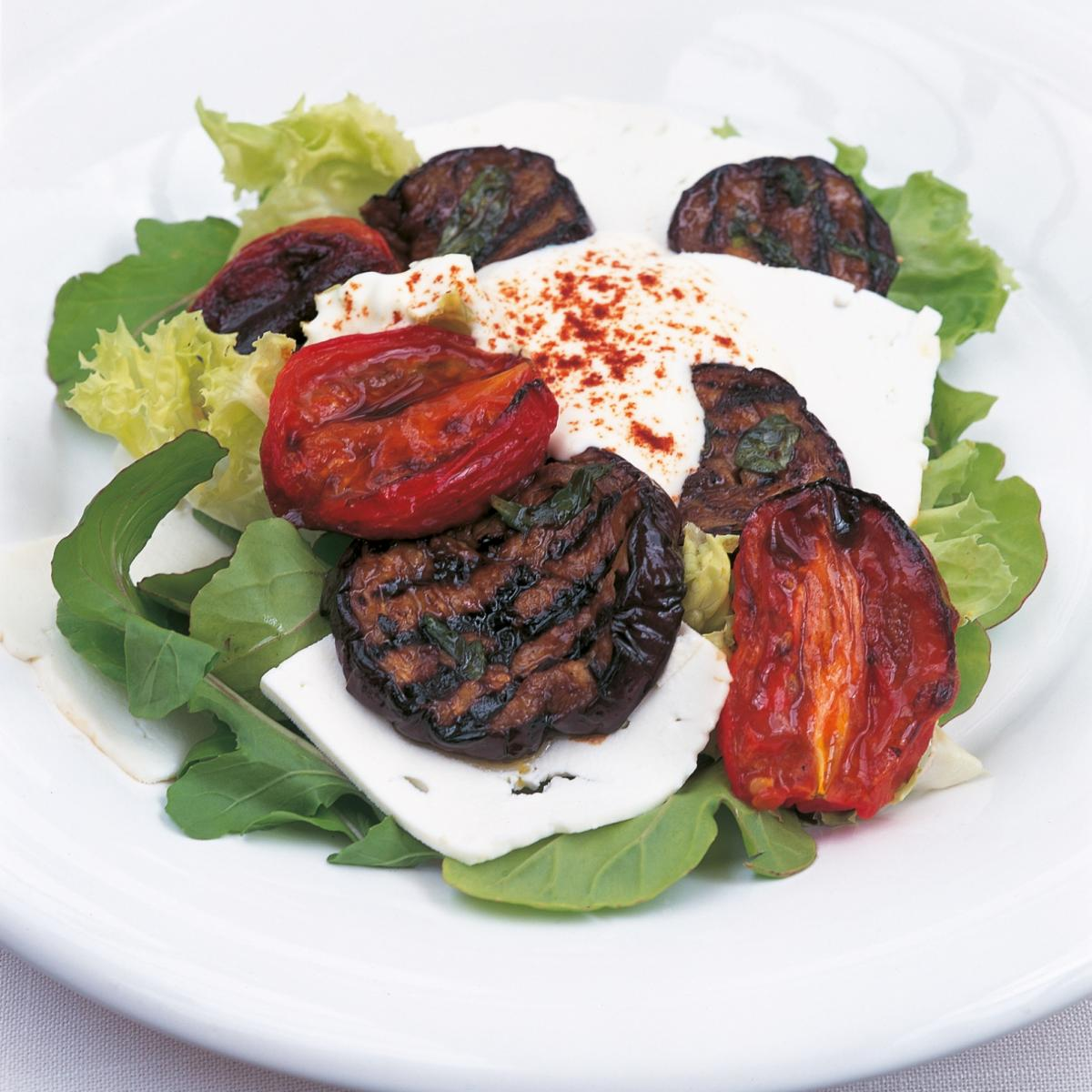 Htc char grilled aubergine and roasted tomato salad with feta cheese