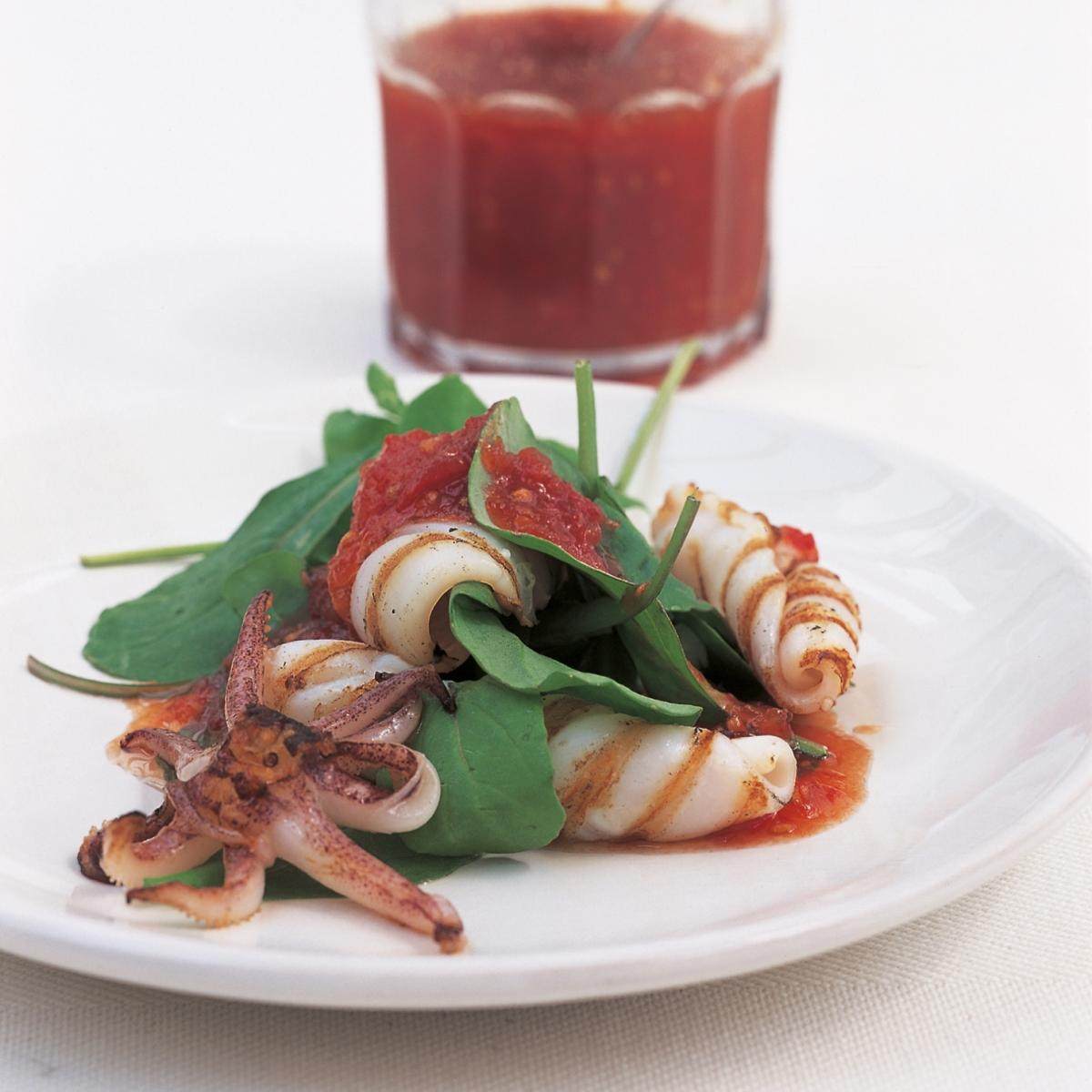 A picture of Delia's Char-grilled Squid with Chilli Jam recipe