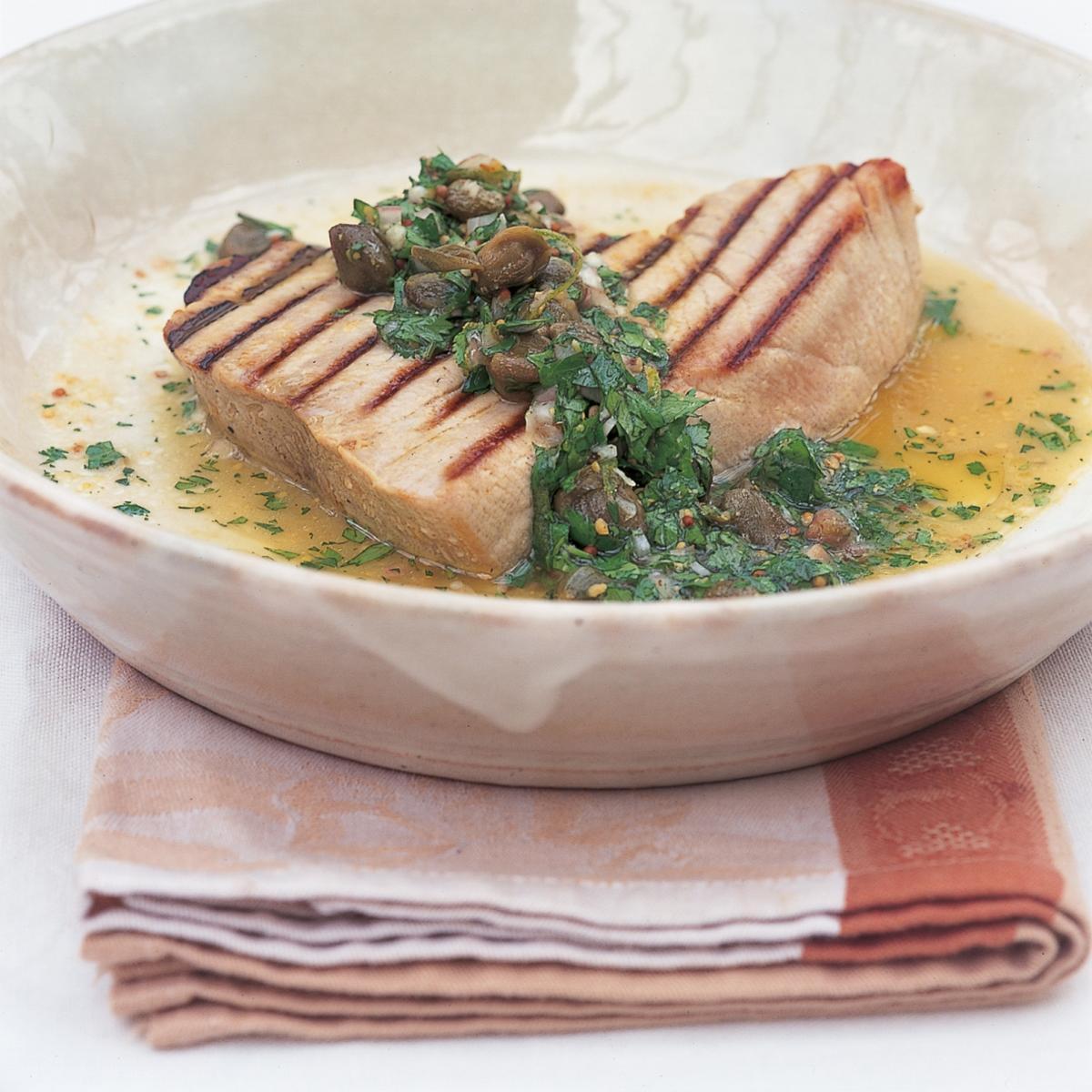 A picture of Delia's Char-grilled Tuna with Warm Coriander and Caper Vinaigrette recipe