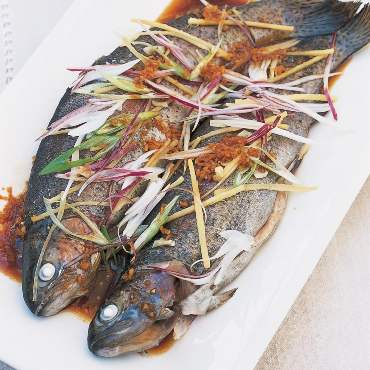 Htc chinese steamed trout with ginger and spring onions