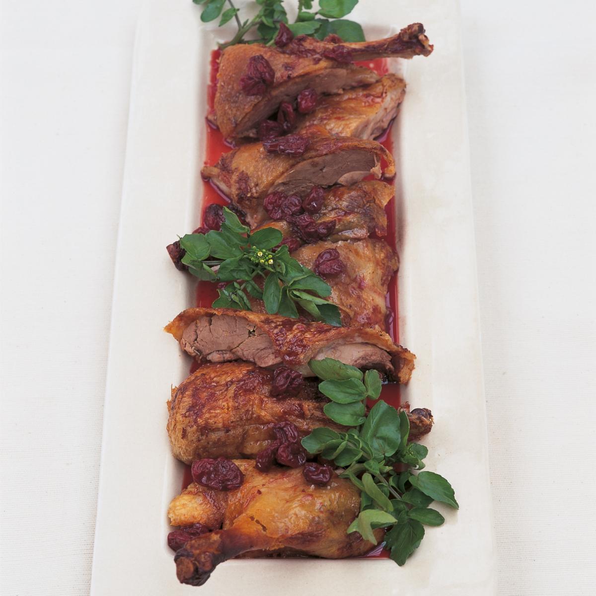 Htc crisp roast duck with confit of sour cherries