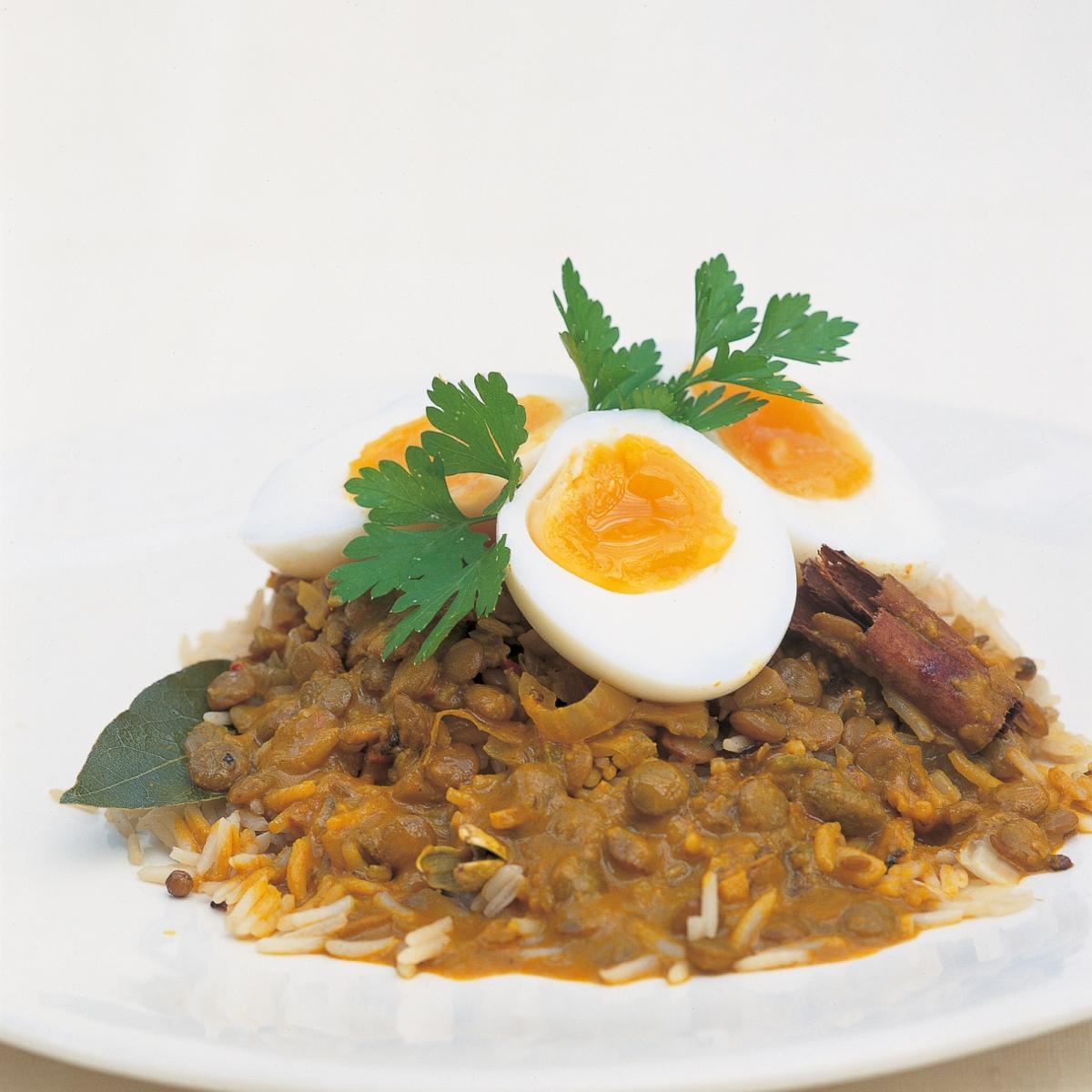 A picture of Delia's Egg and Lentil Curry with Coconut and Pickled Lime recipe