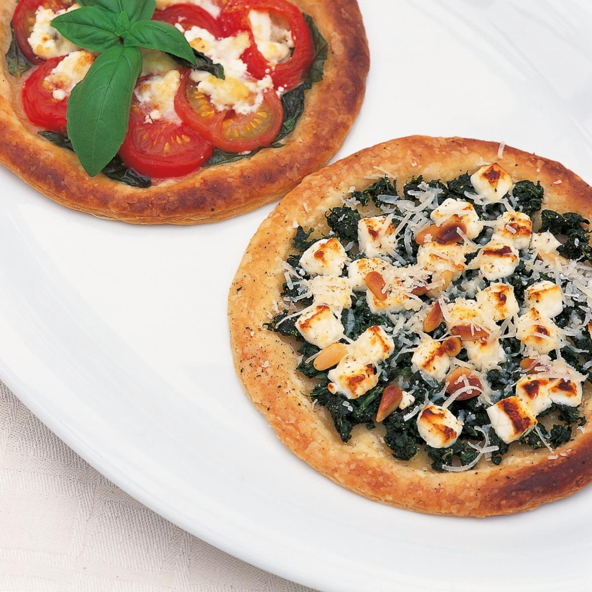 Htc feta cheese spinach and pine nuts galettes bottom image