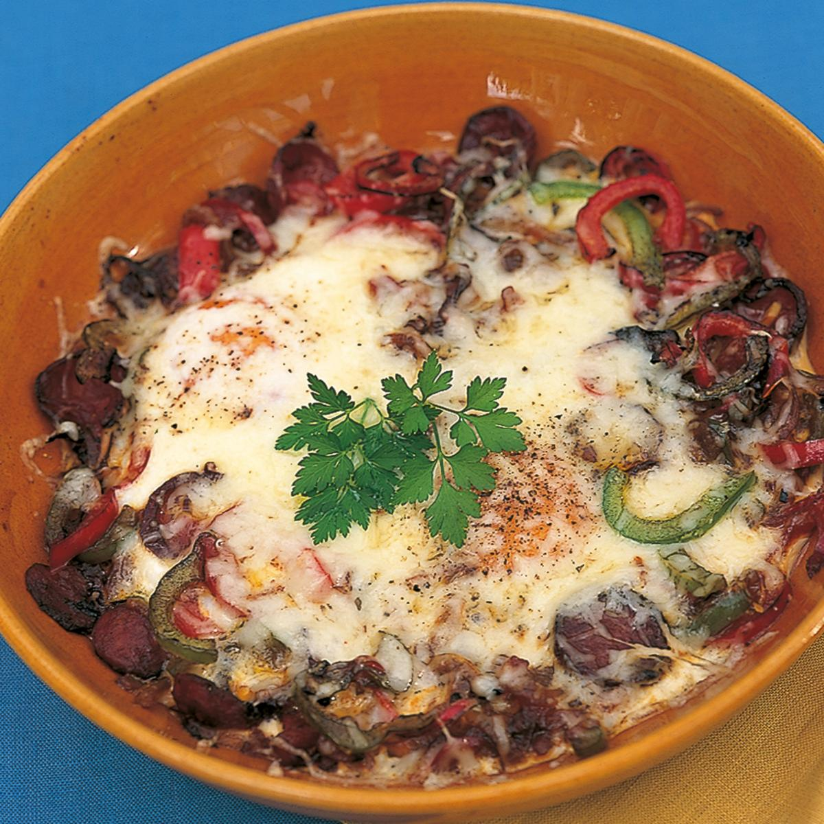 Htc gratin of eggs with peppers and chorizo