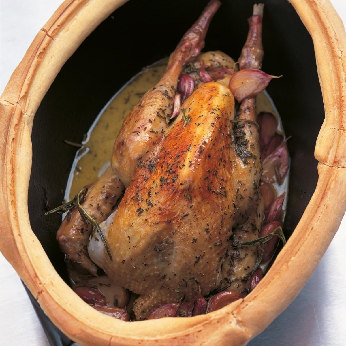 Htc guinea fowl baked with thirty cloves of garlic