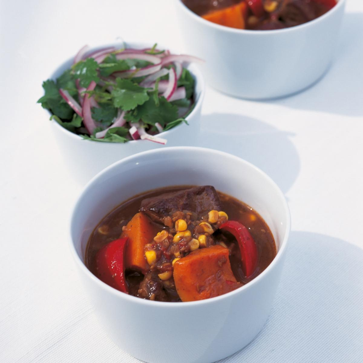 Htc latin american beef stew with marinated red onion salad