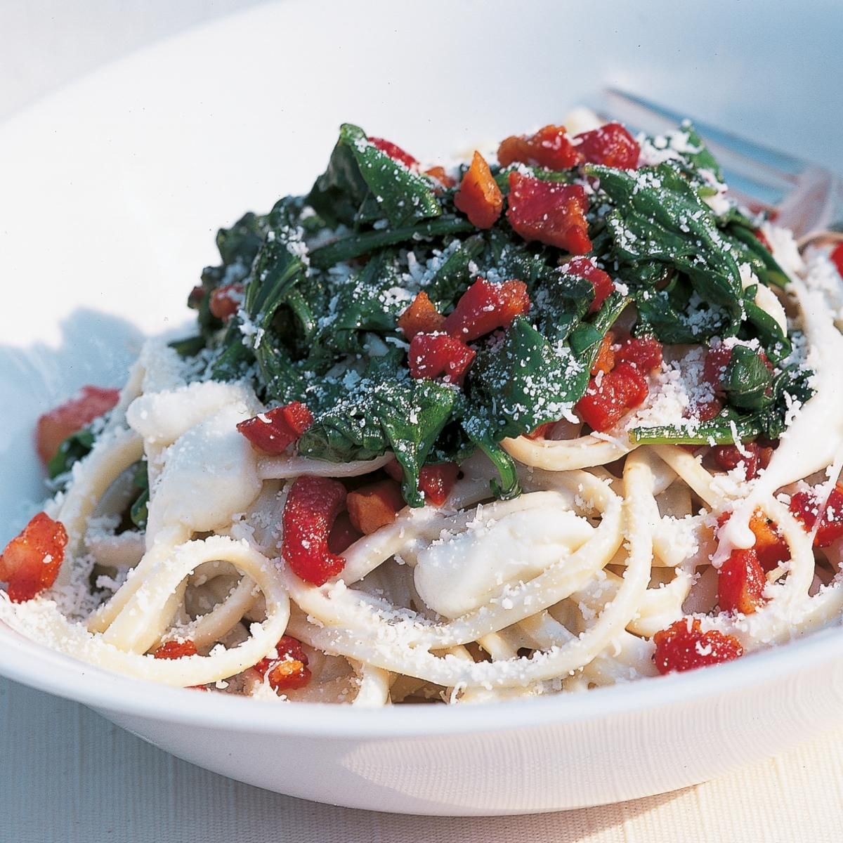 A picture of Delia's Linguine with Gorgonzola, Pancetta and Wilted Rocket recipe