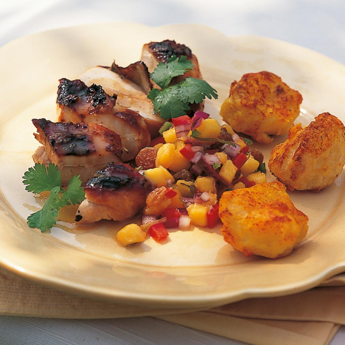 Htc marinated chicken with honey and ginger served with mango and sultana salsa