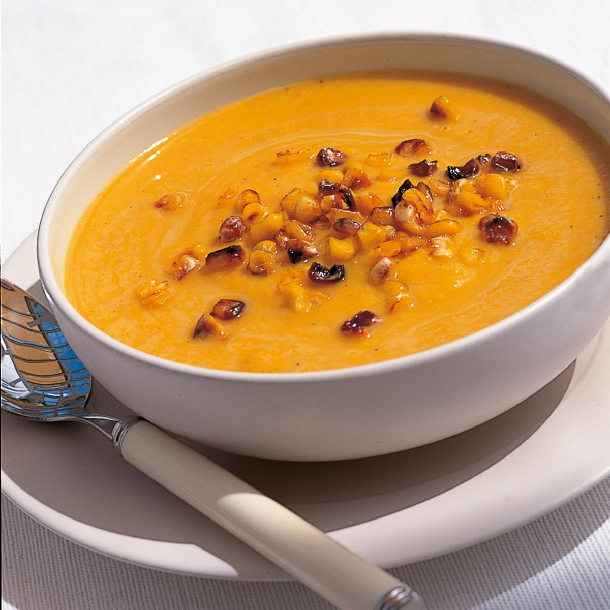 Htc pumpkin soup with toasted sweetcorn