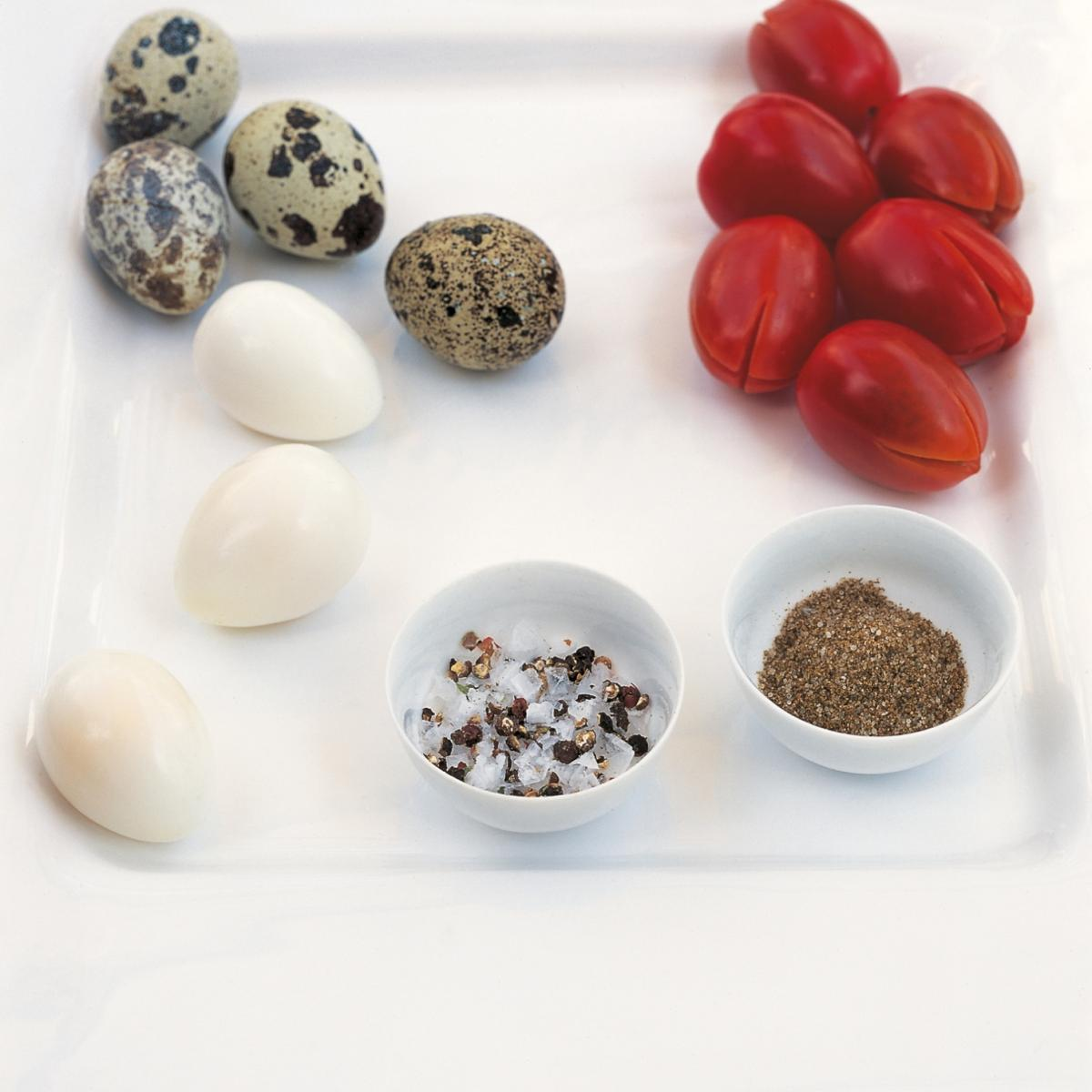 A picture of Delia's Quails' Eggs with Cracked Pepper and Salt recipe