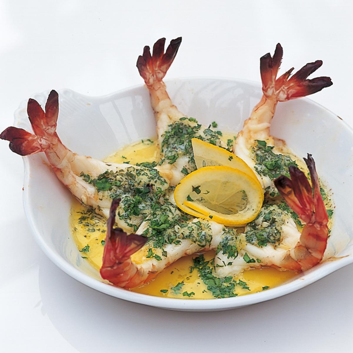 Htc roasted butterflied tiger prawns in garlic butter