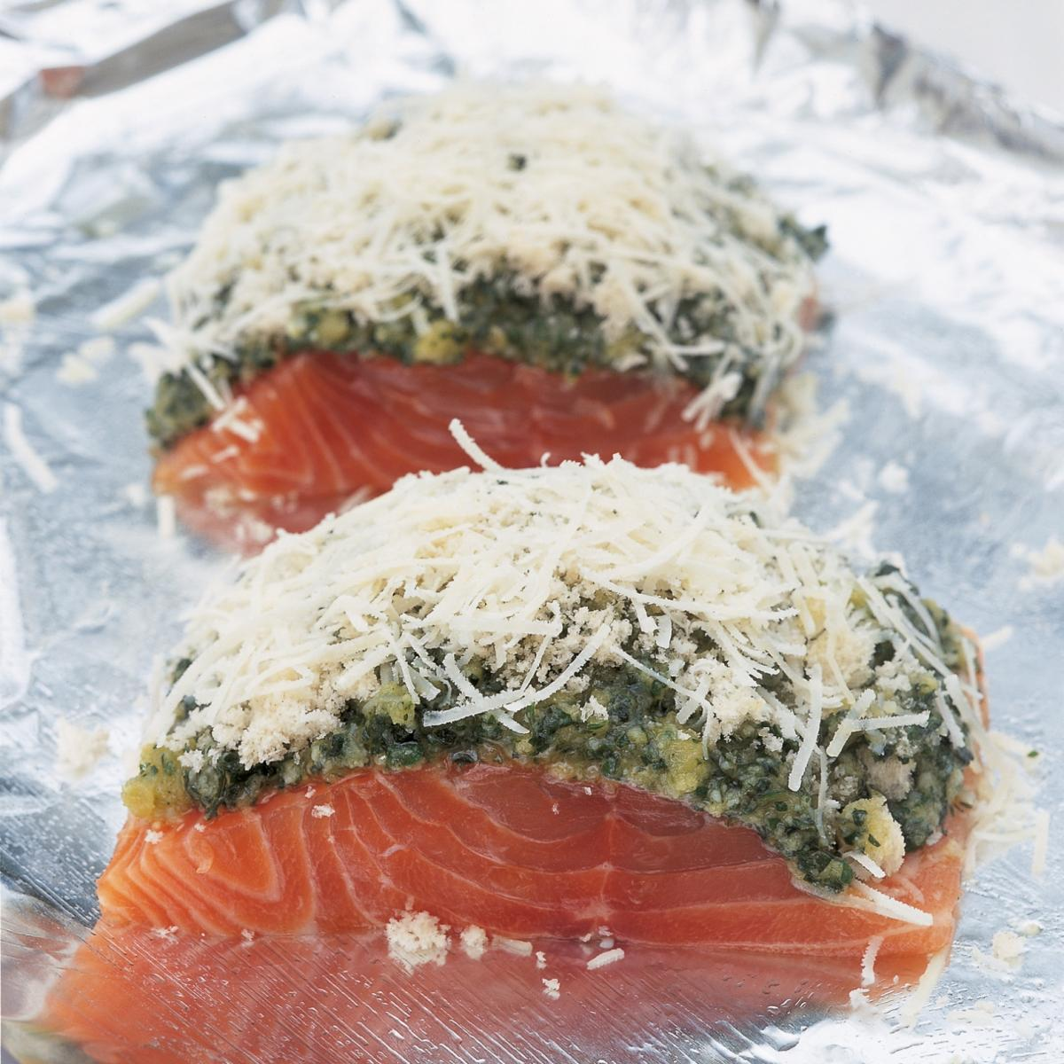 Foil baked salmon served with english parsley sauce recipes a picture of delias roasted salmon fillets with a crusted pecorino and pesto topping recipe ccuart Gallery