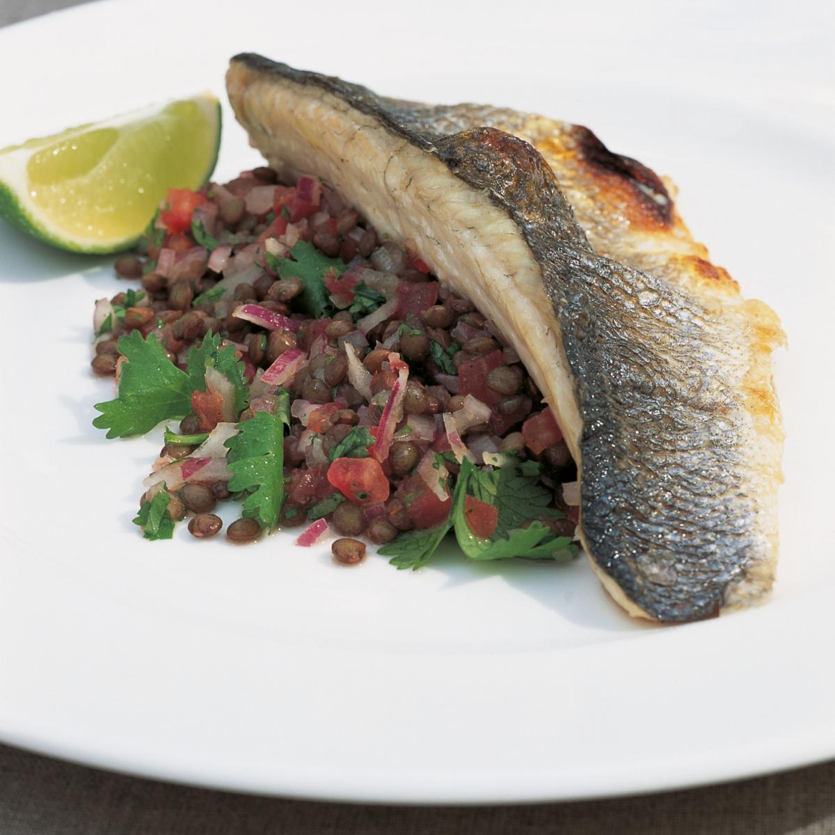 A picture of Delia's Sea Bass with Puy Lentil Salsa recipe