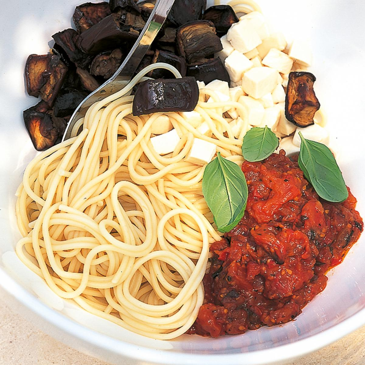 A picture of Delia's Sicilian Pasta with Roasted Tomatoes and Aubergines recipe