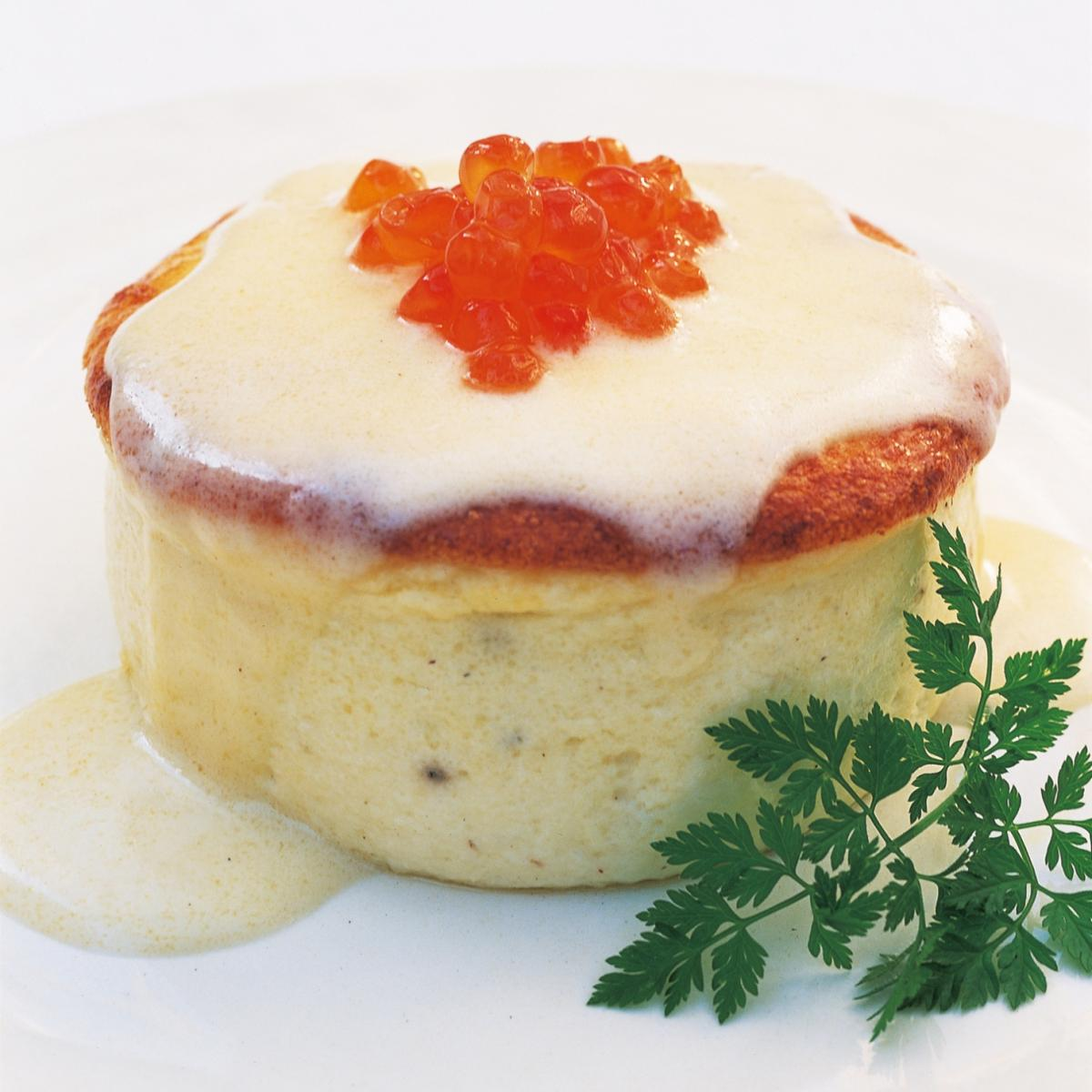 A picture of Delia's Souffled Sole Creams with Champagne Sauce and Salmon Caviar recipe